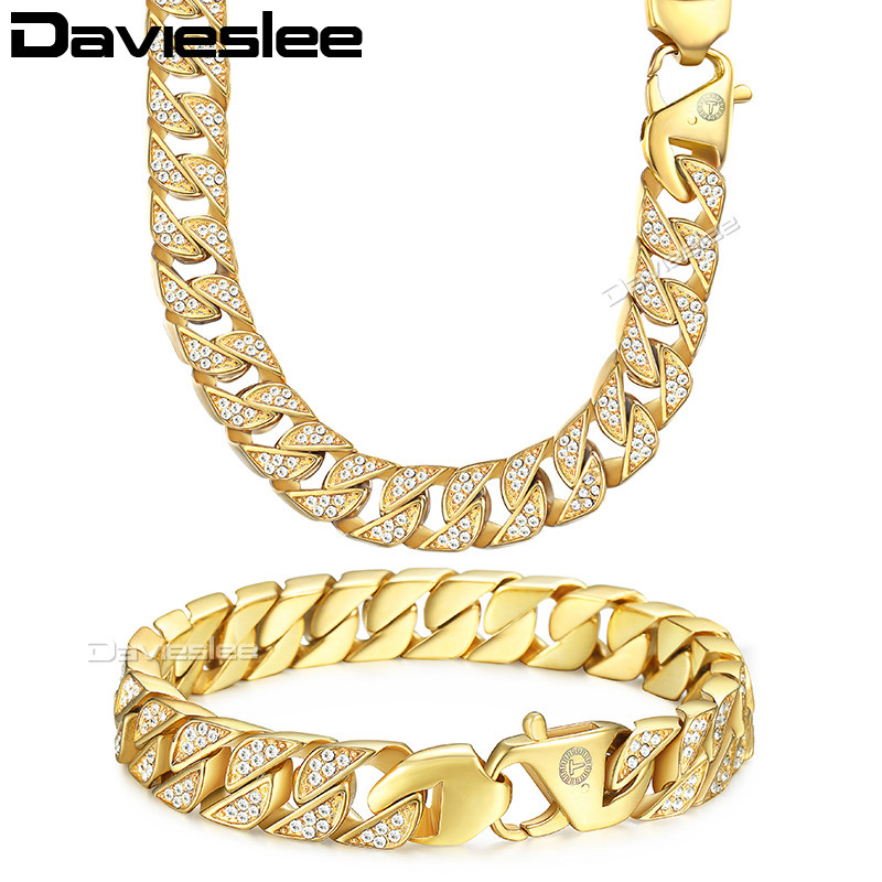Davieslee Mens Necklace Bracelet Chain Miami Curb Cuban 316L Stainless Steel Gold-color 12mm LHS60 8mm 10mm 12mm 14mm stainless steel miami curb cuban bracelet mens hip hop thick gold filled cuban link heavy bracelet 23cm