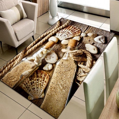 Else Beach  Sand Filled Glass Bottle Sea Shells 3d Print Non Slip Microfiber Living Room Decorative Modern Washable Area Rug Mat