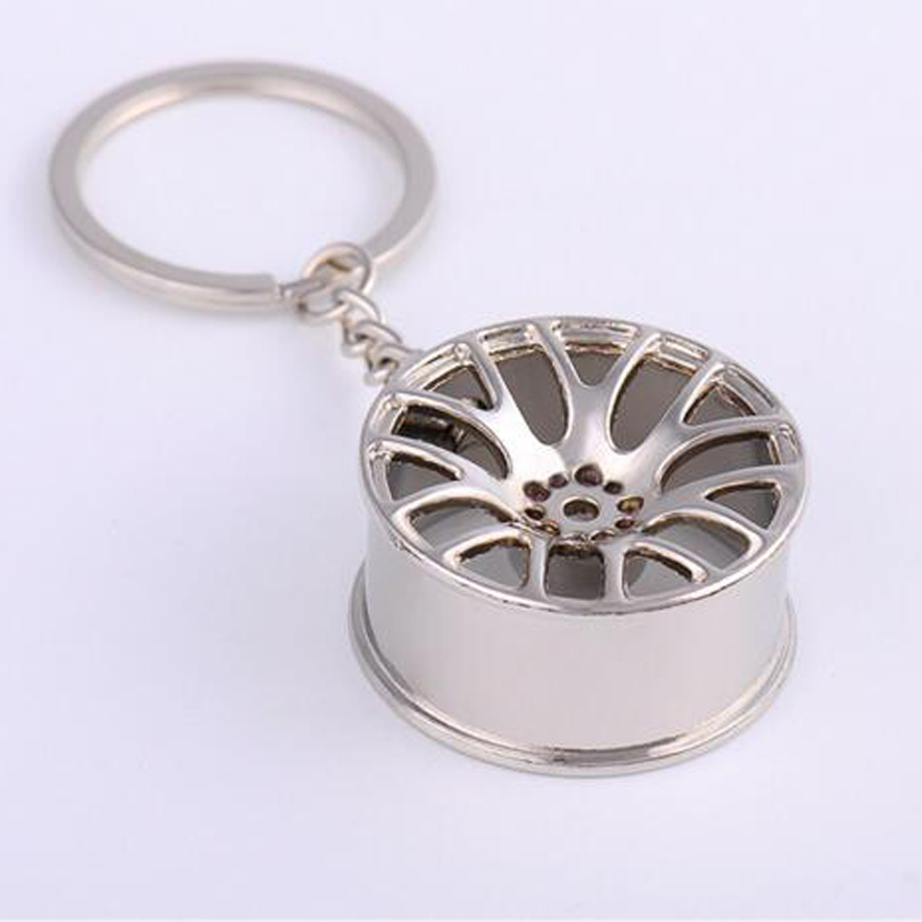 1Pcs New Design Cool Luxury metal Keychain Car Key Chain Key Ring creative wheel hub chain For Man Women Gift 3 colors