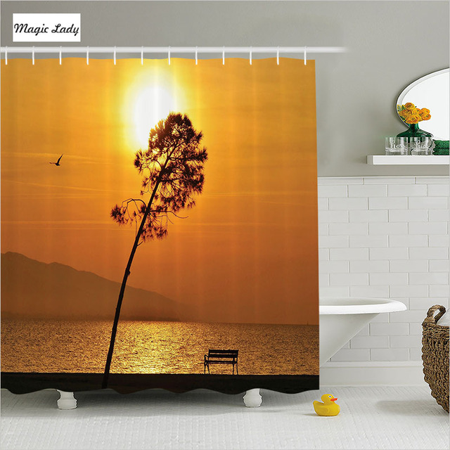 Shower Curtain Orange Bathroom Accessories The Lonely Sea Sun Sunset Tree  Day Light Down Twilight Brown