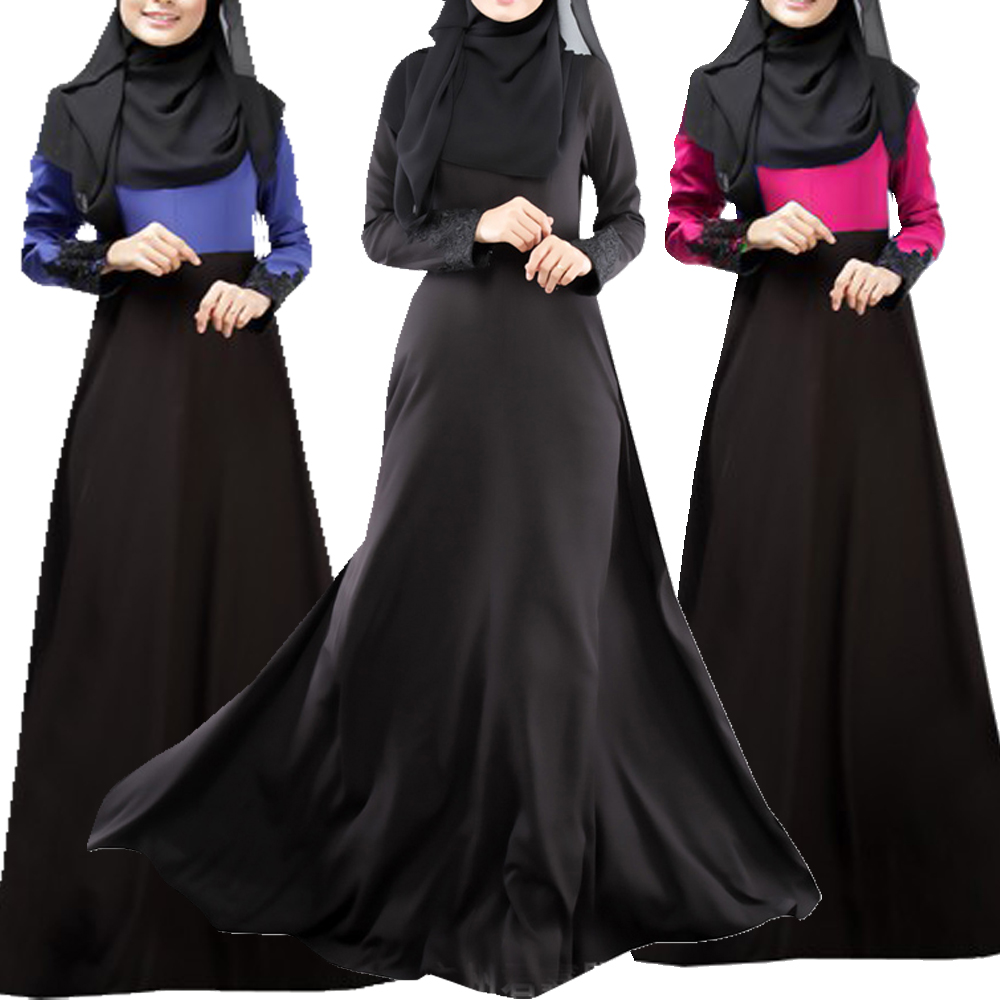 Bubble Tea Mujer musulmán vestido islámico de manga larga 2Color Dubai Abaya Kaftan: Malasia Vestidos musulmanes Abaya Ropa Envío gratis