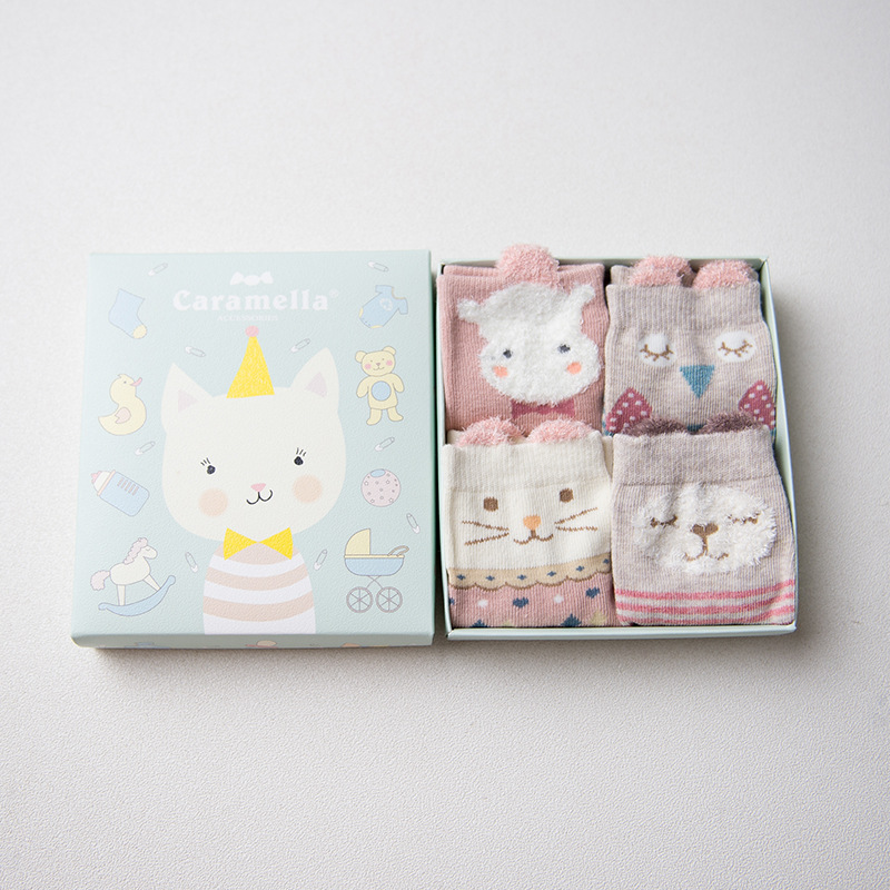 Set of baby socks Kitten-2, 4 pairs baby set of 4 pieces cotton box baby set of 4 pieces