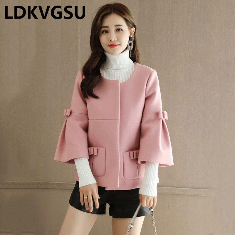 Manteau Hiver Arc Coat Grand Taille Veste Neuf Rose De Laine Is425 Femmes Pink Col red 2018 Cravate Rond Manches Court Nouvelles Automne Femelle Coat Mince 5Bxwva