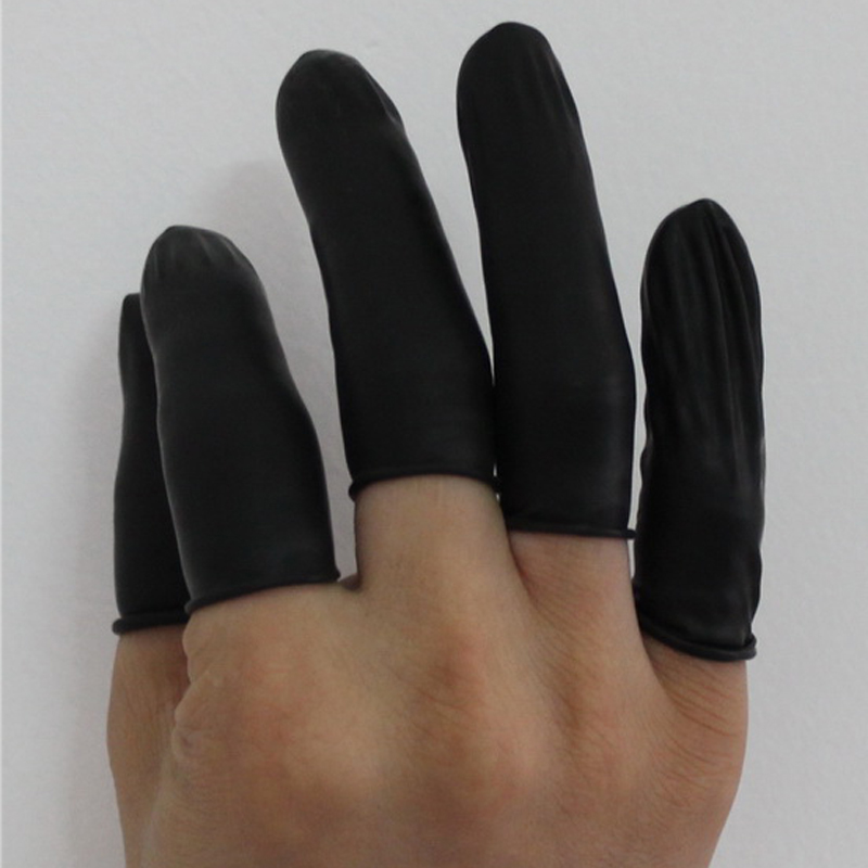 100pc Pure Natural Latex Powder-free Finger Cot Anti Static Cleanroom Black Protective Fingertip Watch Jewellery Work Gloves
