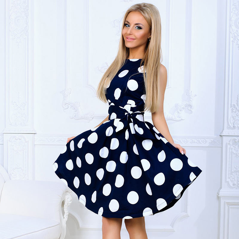 2018 Summer Fashion Women Dot Print Dress Casual O-neck Sleeveless Tunic Back Zipper Dresses Ladies Elegant Sashes Vestidos
