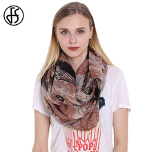 FS Winter Scarves For Women Voile Infinity Collar Ring Neck Scarf Eiffel Tower Print Feminine Luxury Brand Echarpe