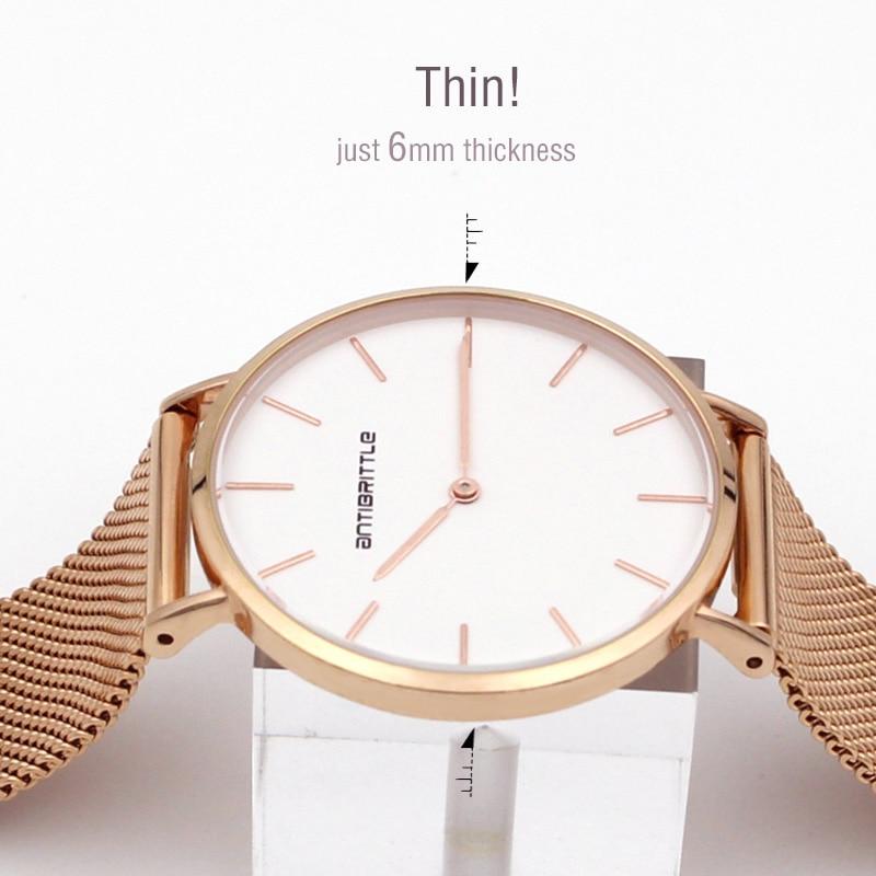 Japan Quartz Luxury Rose Gold Watch Klockor Ultra Thin Mesh Stainless Steel Magnet Rem Vattentät Antibrittle Armbandsur Classic