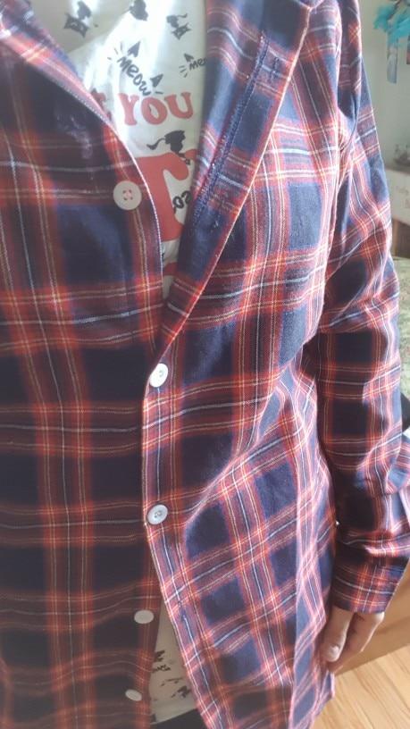 Women Blouses Long Sleeve Plaid Shirts Turn Down Collar Shirt Casual Tunic Feminine Irregular Blouses Plus Size Tops photo review
