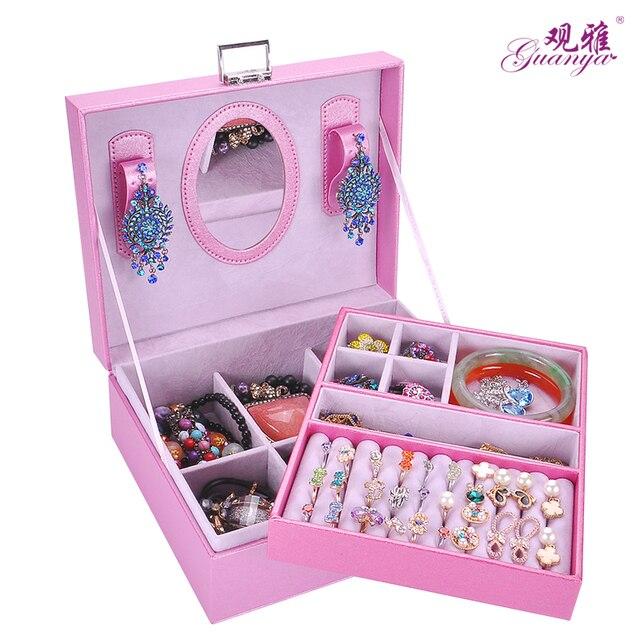 2017 new style jewelry box with mirrow Fashion casket for jewelry