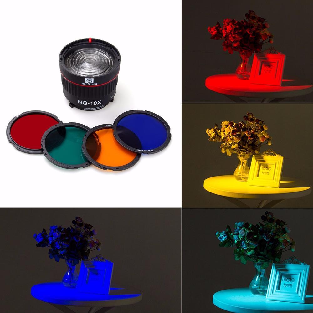 Nanguang NG 10X Studio lumière mise au point lentille Bowen monture pour Flash lumière LED avec 4 couleur filtre lumière ensemble accessoires de photographie-in Caméra Filtres from Electronique    3