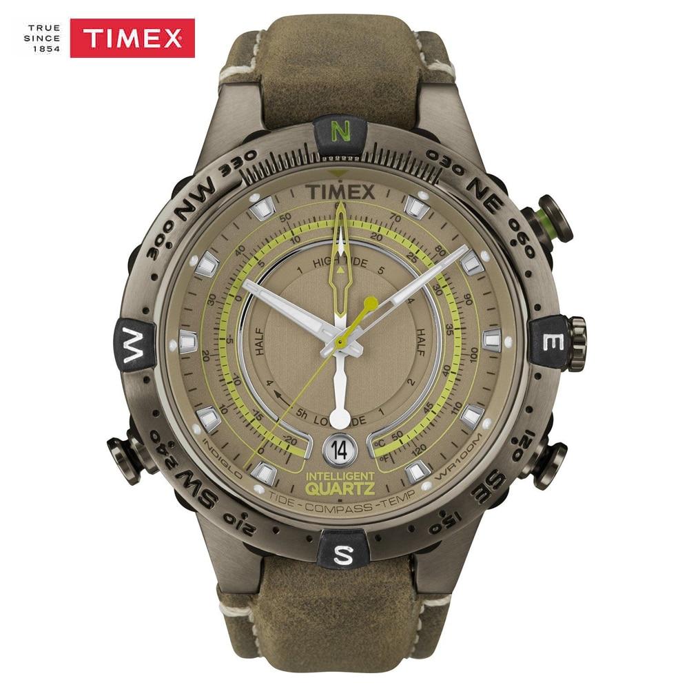 31d8404160bf Los Hombres Originales del Reloj Timex T2N739 Exporation Inteligente Reloj  de Cuarzo Correa de Cuero Marea Temperatura Brújula Al Aire Libre Reloj ...