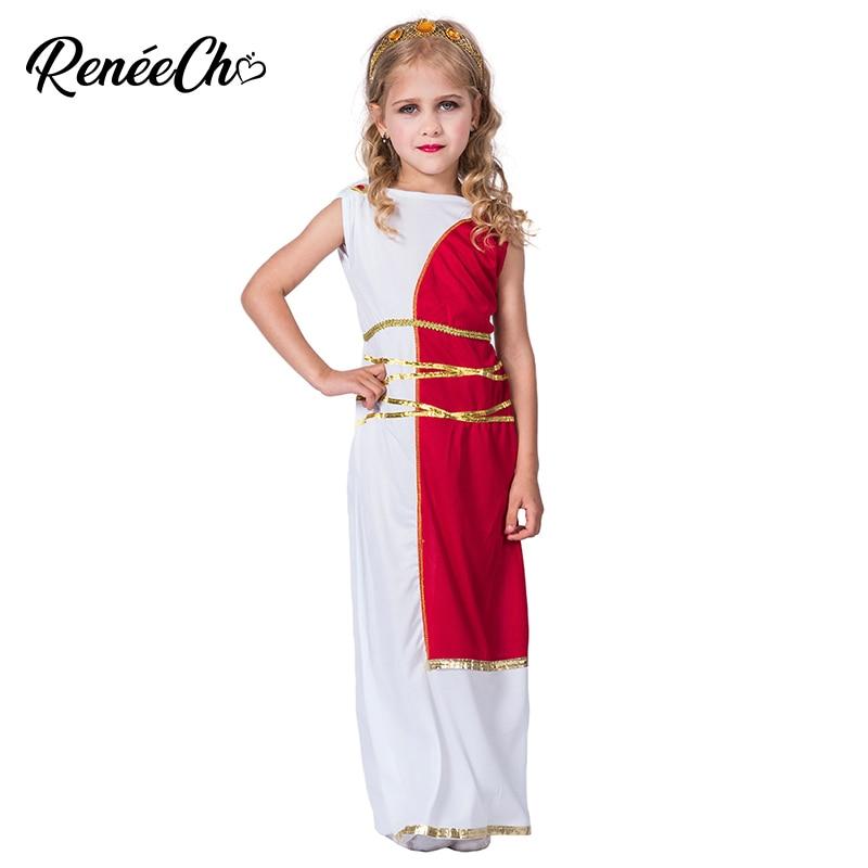 Halloween Costume For Kids Roman Costume For Girls Child Greek Goddess Sleeveless White Long Dress Birthday Cosplay Costume