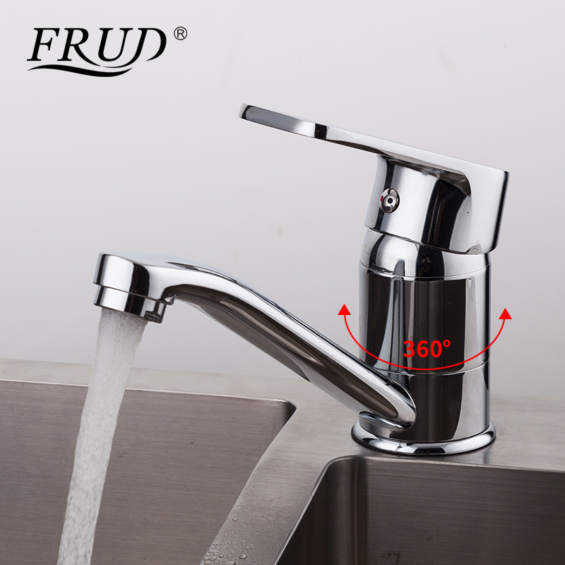 FRUD 1 Set Classic Chrome Kitchen Sink Faucet Zinc Alloy Kitchen Sink Mixer Tap Hot & Cold Water Faucet Torneira R45072