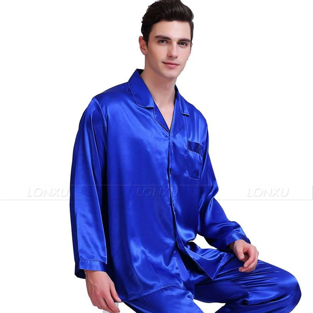 Mens Silk  Satin  Pajamas Set   Pyjamas  Set   Sleepwear  Loungewear  S~4XL