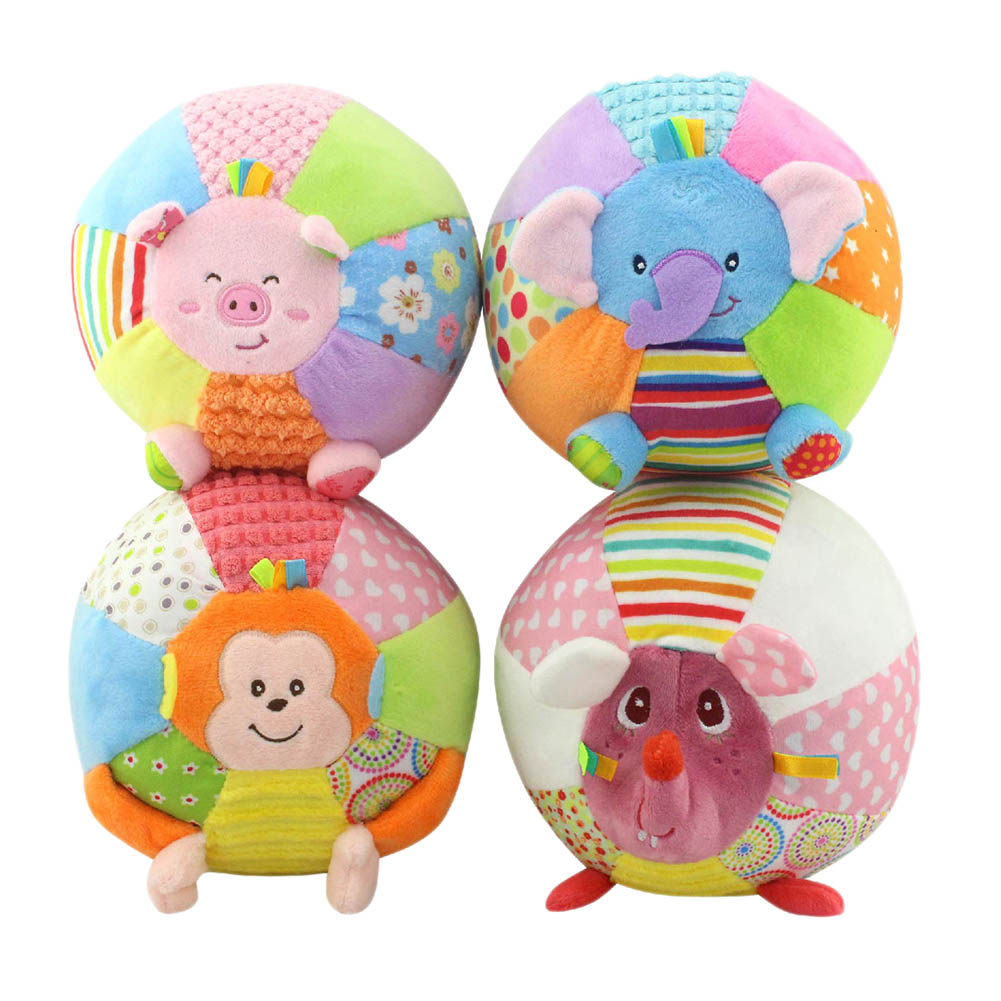 Baby Sound Cloth Toy Animal Ball For Kids Activity Baby Toys Cartoon Pink Pig Monkey Soft Early Educational Ball