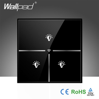 New Arrival Wallpad Black Crystal Glass UK 110 250V 3 Gang Wifi Remote Light Controlled WIFI