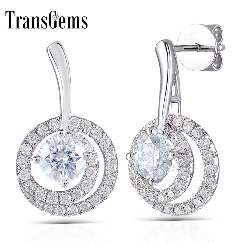Moissanite Diamond Drop Earrings 14K 585 White Gold 5MM Center Stone Round Shaped with Accents for Women Push Back Transgems genuine14k 585 white gold push back 1carat ctw test positive lab grown moissanite diamond earrings for women