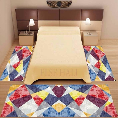 Else 3 Piece Blue Pink Yellow Patchwork Geometric 3d Print Non Slip Microfiber Washable Decor Bedroom Area Rug Carpet Set