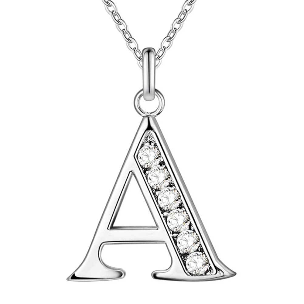 Simple Shiny Zircon 26 English Letters Pendant Women Men Thin Necklaces Jewelry