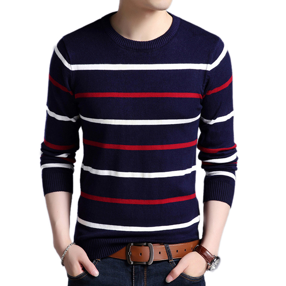 Striped Long Sleeve Round Neck Sweater Knitwear Men Soft Fashion Pullover Top