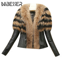 NIBESSER Women Winter Warm Faux Fur Jackets Coat 2017 Fashion Patchwork PU Leather Jackets Female Topcoats
