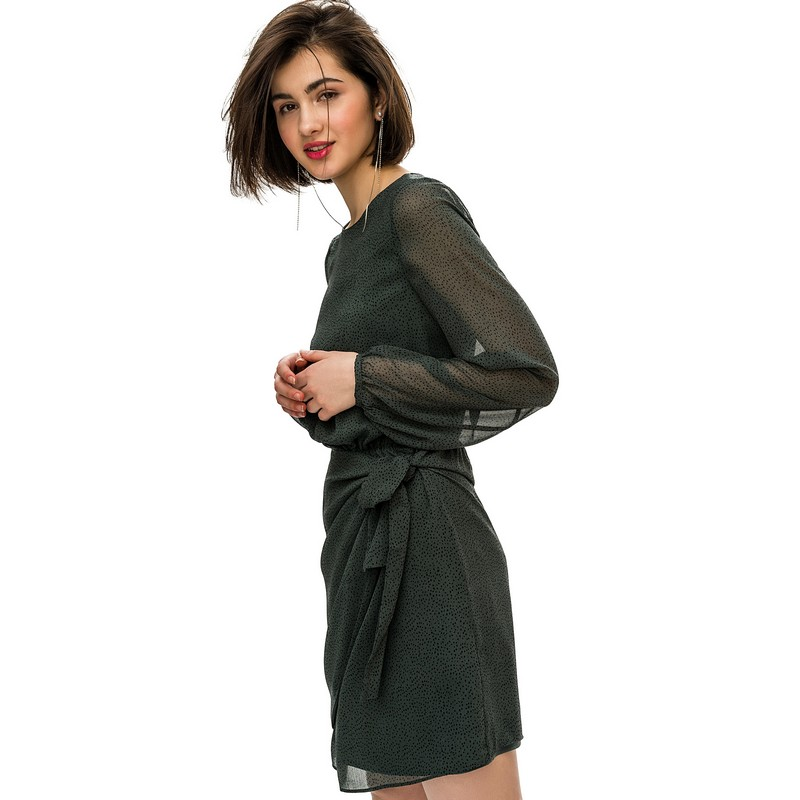 Dresses dress befree for female  long sleeve women clothes apparel  casual spring 1811343565-15 TmallFS exaggerate bell sleeve buttoned keyhole dress