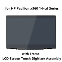 For HP Pavilion x360 14 cd0003la 14 cd1029la 14 cd0014la 14 cd0007la LCD Display Touch Screen Glass Digitizer Assembly + Frame