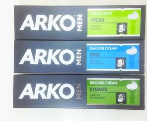 ARKO Men's Shaving Cream 3 X 3.4 Oz , 3 Types Arko Mix Set FRESH,COOL,HYDRATE