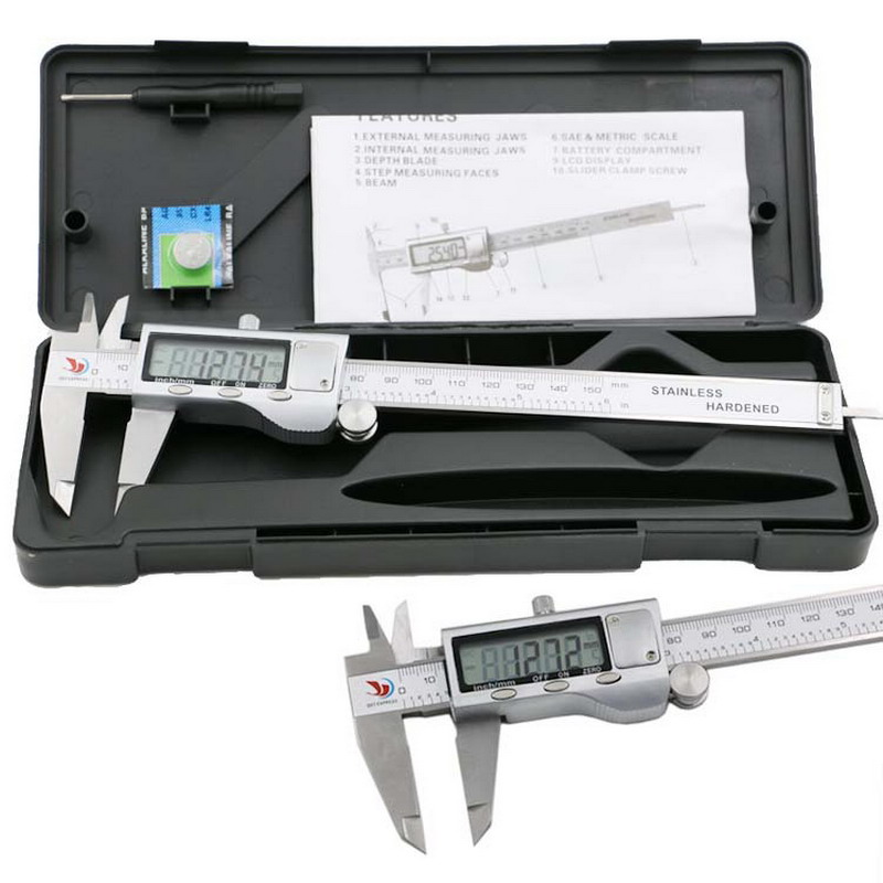 цена на 1 PC Metal 6-Inch 150mm Stainless Steel Electronic Digital Vernier Caliper Micrometer Measuring Tools Vernier Calipers T30