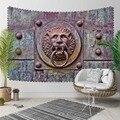Anderes Eisen Lion Kopf Klopfer Vintage Türkische 3D Druck Dekorative Hippi Böhmischen Wand Hängen Landschaft Wandteppich Kunst-in Dekorative Wandteppiche aus Heim und Garten bei