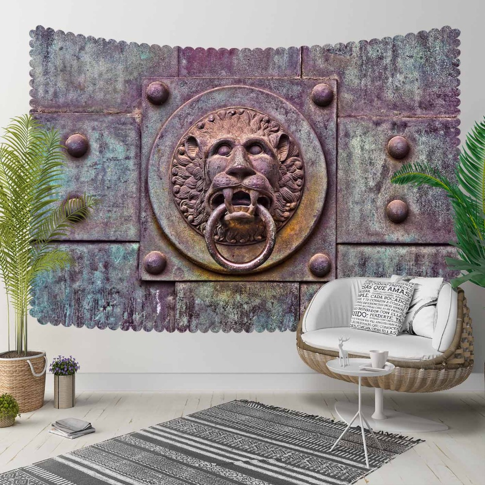 Else  Iron Lion Head Knocker Vintage Turkish 3D Print Decorative Hippi Bohemian Wall Hanging Landscape Tapestry Wall Art