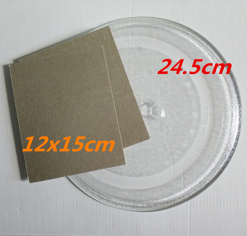 цена на revolving tray 24.5cm Y type microwave glass plate +2pcs 12x15cm Mica plate for microwave oven microwave oven spare parts