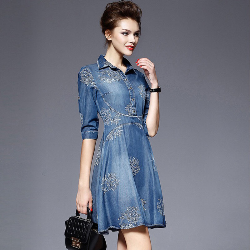 high quality autumn denim dress clothing plus size women Jeans dress elegant spring slim cowboy casual