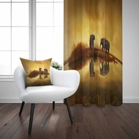 Else Yellow Sunset African Elephants in River 3d Print Living Room Bedroom Window Panel Curtain Combine Gift Pillow Case