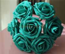 Teal Wedding Flowers Artificial Foam Roses Turquoise Flower 8cm 100 Stems For Bridal Bouquet Wedding Centerpieces LNPE007