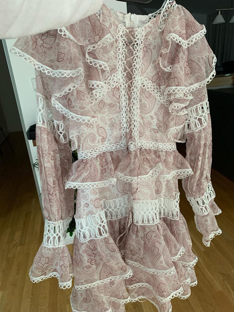 Print Hollow Out Women Dress High Waist O Neck Ruffles Flae Sleeve Mini Dresses Female Spring photo review