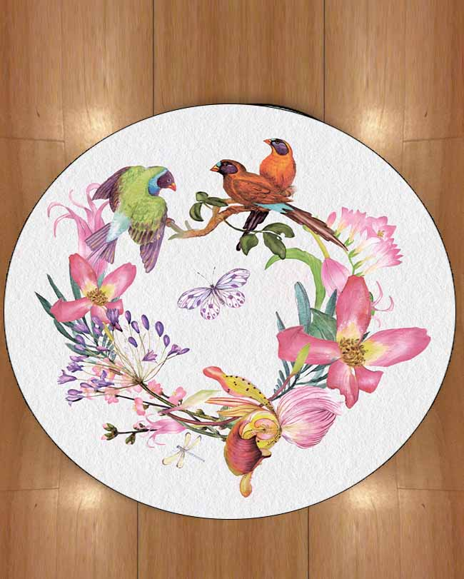 Else Green Orange Birds Circle Purple Flowers Butterfly 3d Print Anti Slip Back Round Carpets Area Rug For Living Rooms Bathroom