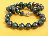 AAAAA 1710 11mm natural real round TAHITIAN black pearl necklace >>>Free shipping