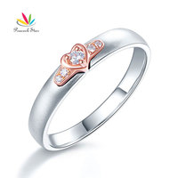 Peacock Star Women 14K White Gold Rose Gold 2 Color Wedding Band Women Ring Diamond