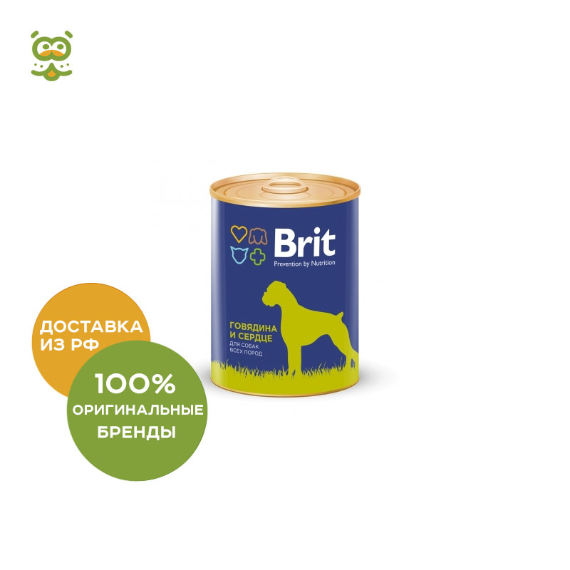 Dog wet food Brit Premium canned food for dogs (pate), Beef and heart, 850 g. heart dog