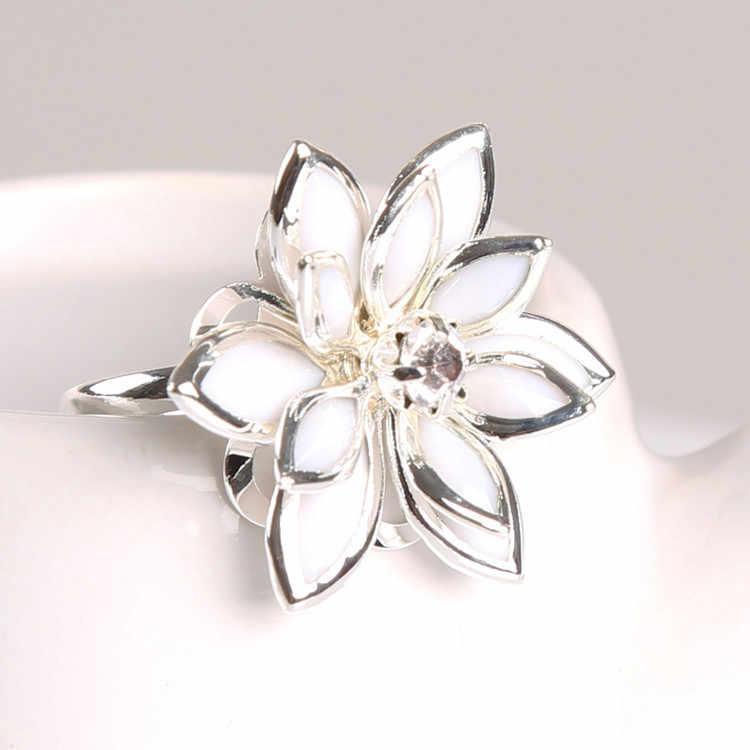ผู้หญิงหลายชั้นดอกไม้Camelliaรูปผู้หญิงแหวนเงินชุบวิจิตรเสน่ห์เครื่องประดับ
