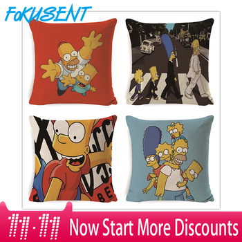 FOKUSENT Family comedy humor The Simpsons Cartoon Character images pillow case Home decoration cushion cover The simpsons fans фото