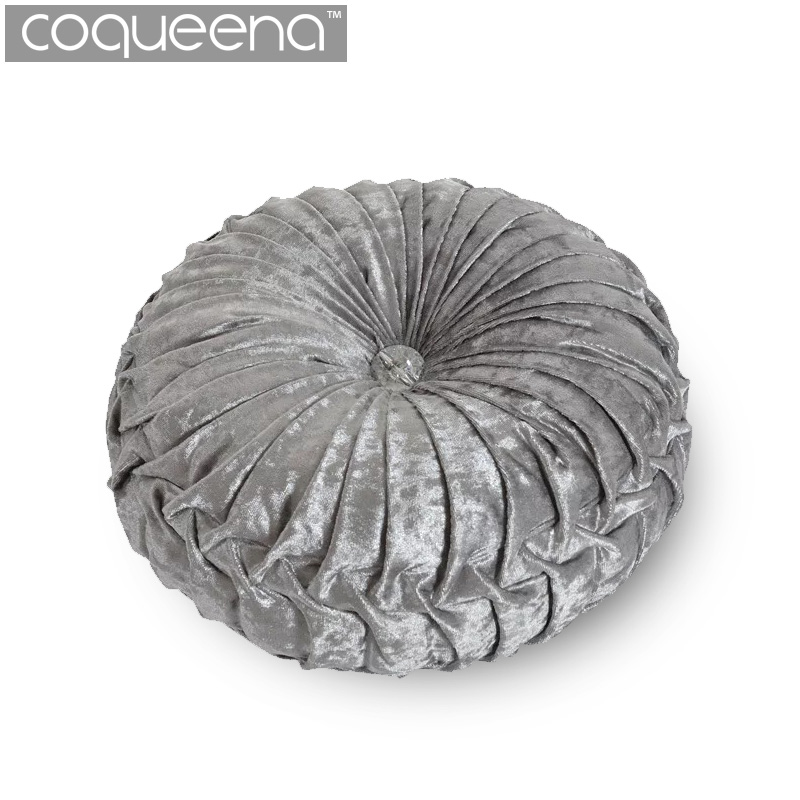 Velvet Filled Round <font><b>Cushions</b></font> Chair Pad Bolster Futon Decorative Throw Pillows for Sofa Soft Furnishings <font><b>Home</b></font> Decor Grey Red Blue