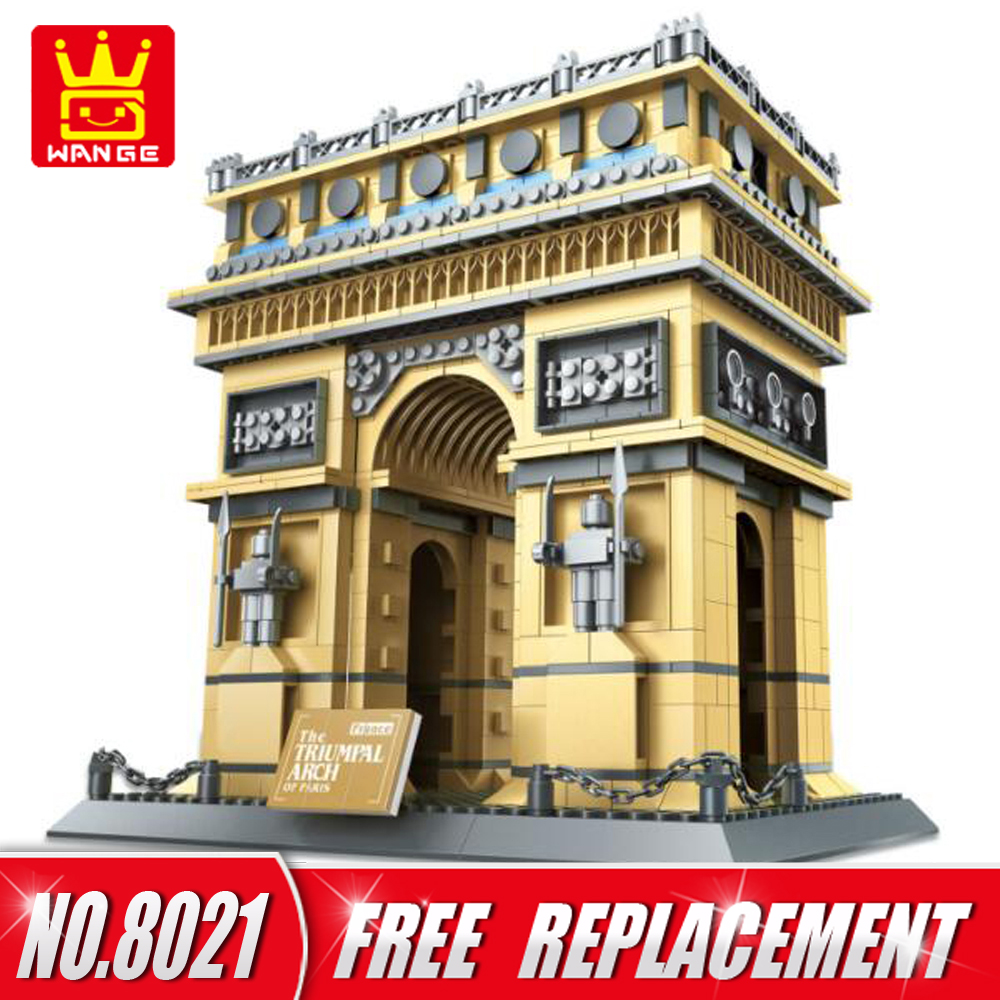 WANGE Bricks Architecture Series The Triumphal Arch of Paris Building Blocks Set DIY Kids Toys Home Decor NO.8021 wange mechanical application of the crown gear model building blocks for children the pulley scientific learning education toys