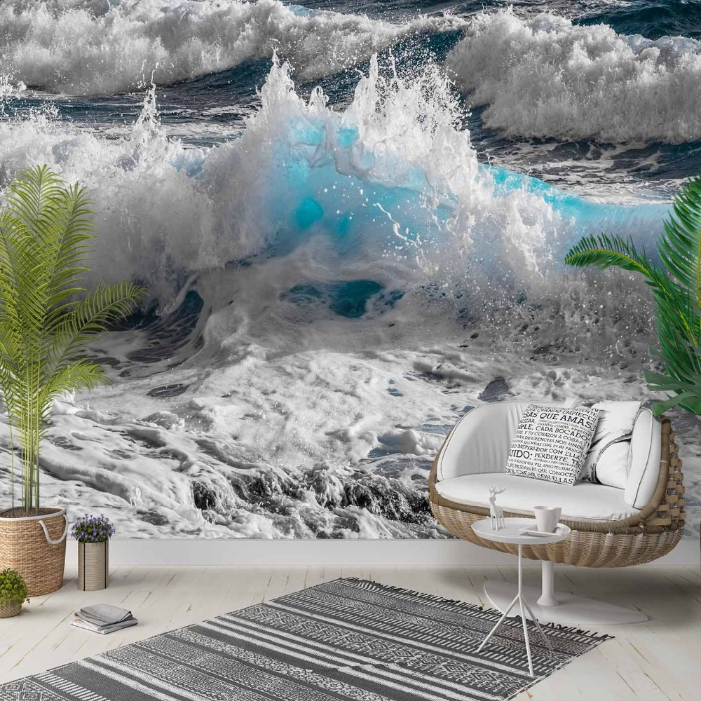 Else Gray White Blue Sea Waves Beach Side 3d Photo Cleanable Fabric Mural Home Decor Living Room Bedroom Background Wallpaper