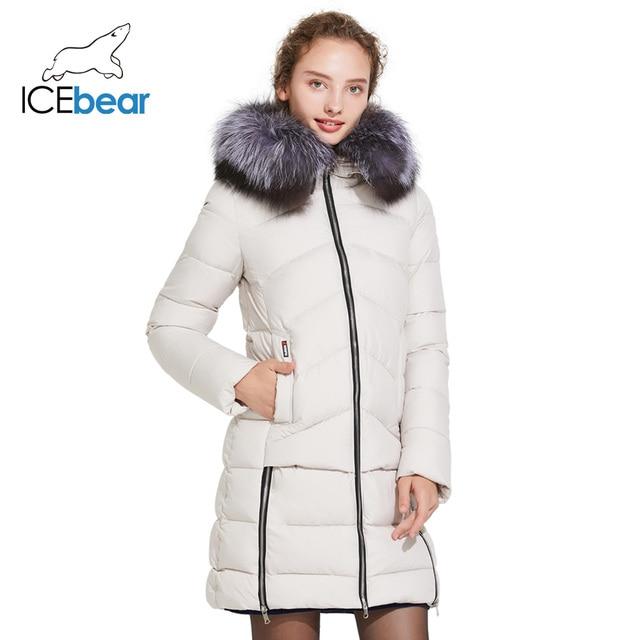 ICEbear 2017 Зимняя модная облегающая куртка пуховик с меховым воротником ветрозащитная 16G6105D