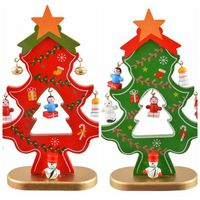 Red Artificial Christmas Tree Wooden Desk Table Xmas Decoration For Home Christmas Ornaments Party Supplies DIY