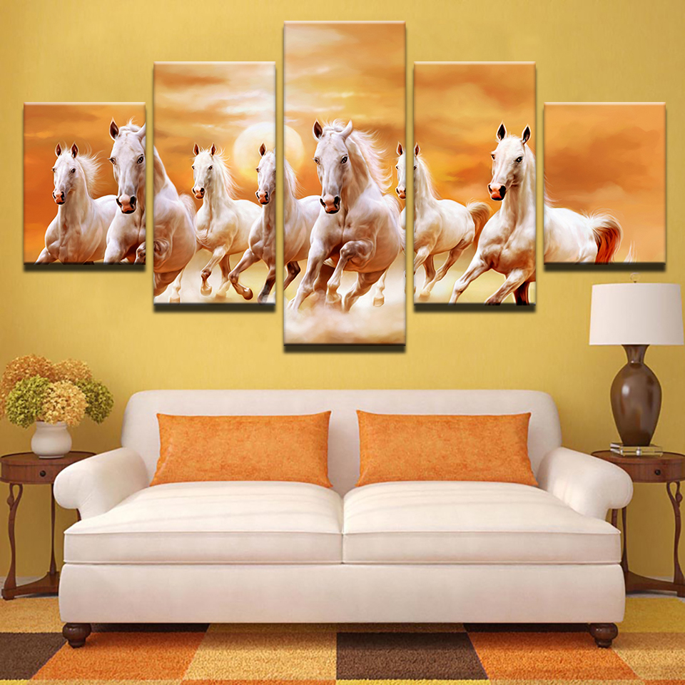 Canvas 5 Pcs Frame Running Fine Horses At Sunset Scenery Painting Wall Canvas Art Print Poster Picture Home Decor Living Room