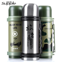 1200ML Outdoor Sport Water Bottle Vacuum Flasks Thermos Cup Stainless Steel Insulation Bottle With Rope Bullet Shape Mug