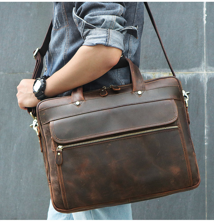 Mens Brown Briefcase Genuine Leather 2018 Vintage Crazy Horse Leather Travel Big Business  15 Laptop Shoulder Crossbody Bags Mens Brown Briefcase Genuine Leather 2018 Vintage Crazy Horse Leather Travel Big Business  15 Laptop Shoulder Crossbody Bags